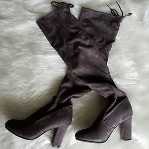 Shoes - Thigh high grey block heel boots